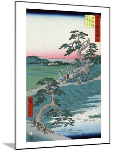 Pilgrims Pausing at a Fork in the Road, Japanese Wood-Cut Print-Lantern Press-Mounted Art Print