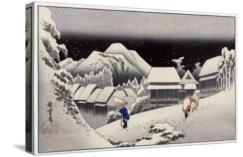 Travellers in the Snow at the Kanbara Station, Japanese Wood-Cut Print-Lantern Press-Stretched Canvas Print