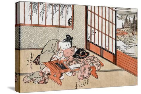 Women at a Table with a View of the Landscape, Japanese Wood-Cut Print-Lantern Press-Stretched Canvas Print