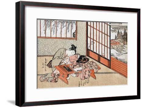 Women at a Table with a View of the Landscape, Japanese Wood-Cut Print-Lantern Press-Framed Art Print