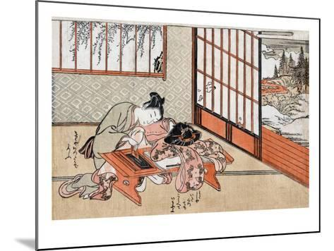 Women at a Table with a View of the Landscape, Japanese Wood-Cut Print-Lantern Press-Mounted Art Print