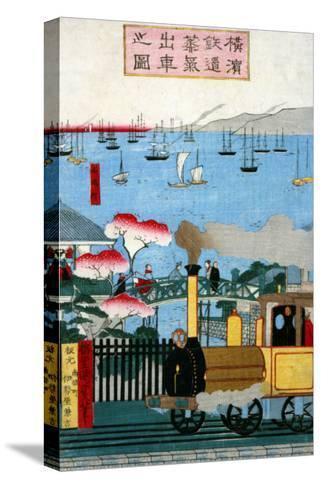 First Steam Train Leaving Yokohama, Japanese Wood-Cut Print-Lantern Press-Stretched Canvas Print