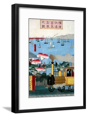 First Steam Train Leaving Yokohama, Japanese Wood-Cut Print-Lantern Press-Framed Art Print
