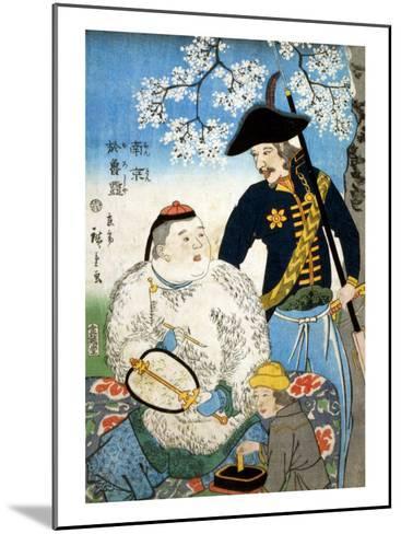 Chinese Man and a Russian Man, Japanese Wood-Cut Print-Lantern Press-Mounted Art Print