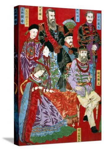 Portrait of World Sovereigns, Japanese Wood-Cut Print-Lantern Press-Stretched Canvas Print