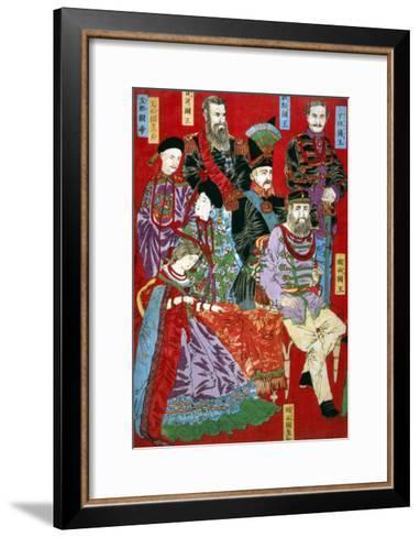 Portrait of World Sovereigns, Japanese Wood-Cut Print-Lantern Press-Framed Art Print