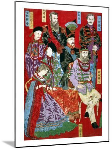 Portrait of World Sovereigns, Japanese Wood-Cut Print-Lantern Press-Mounted Art Print