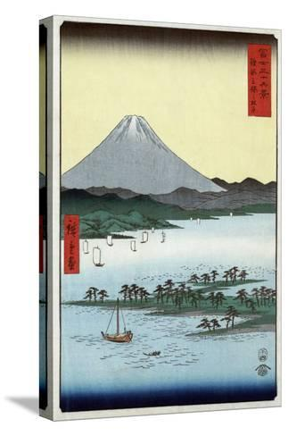 Pine Beach at Miho in Suruga with View of Mount Fuji, Japanese Wood-Cut Print-Lantern Press-Stretched Canvas Print
