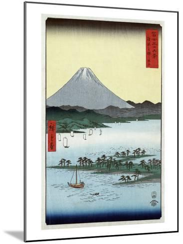 Pine Beach at Miho in Suruga with View of Mount Fuji, Japanese Wood-Cut Print-Lantern Press-Mounted Art Print