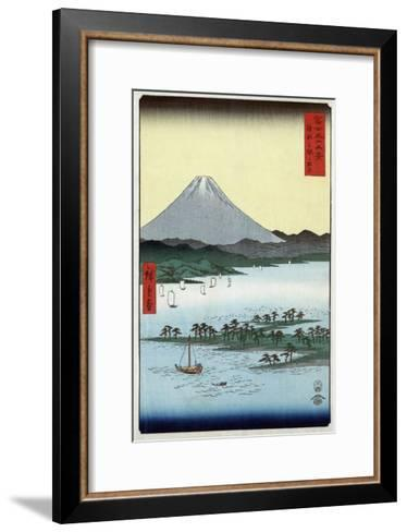 Pine Beach at Miho in Suruga with View of Mount Fuji, Japanese Wood-Cut Print-Lantern Press-Framed Art Print