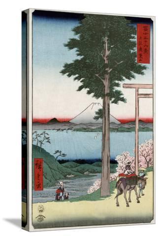 Mount Fuji across Yedo Bay Seen from Rokusozan, Japanese Wood-Cut Print-Lantern Press-Stretched Canvas Print