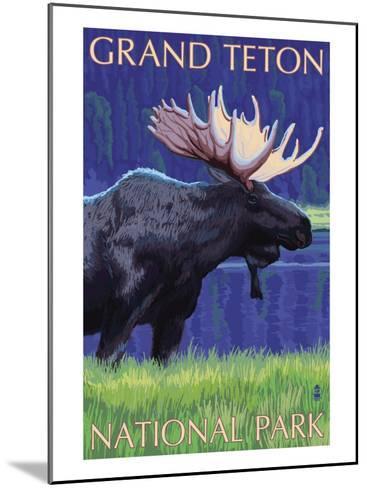 Grand Teton National Park, Wyoming, Moose in the Moonlight-Lantern Press-Mounted Art Print