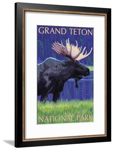 Grand Teton National Park, Wyoming, Moose in the Moonlight-Lantern Press-Framed Art Print