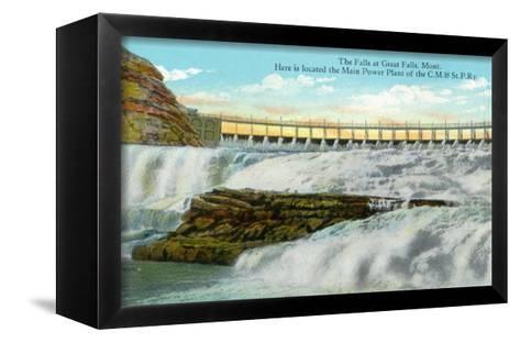 Great Falls, MT, View of Falls, Chicago-Milwaukee-Saint Paul RR Main Power Plant-Lantern Press-Framed Canvas Print