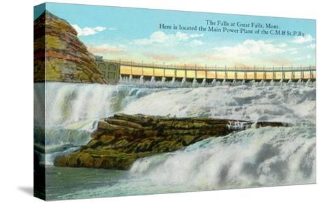Great Falls, MT, View of Falls, Chicago-Milwaukee-Saint Paul RR Main Power Plant-Lantern Press-Stretched Canvas Print
