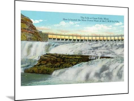 Great Falls, MT, View of Falls, Chicago-Milwaukee-Saint Paul RR Main Power Plant-Lantern Press-Mounted Art Print