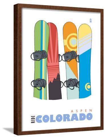 Aspen, Colorado, Snowboards in the Snow-Lantern Press-Framed Art Print
