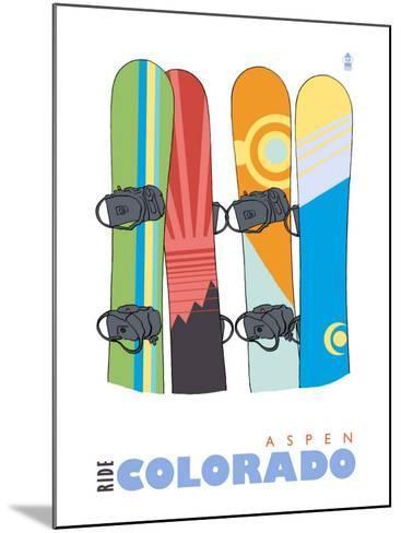 Aspen, Colorado, Snowboards in the Snow-Lantern Press-Mounted Art Print