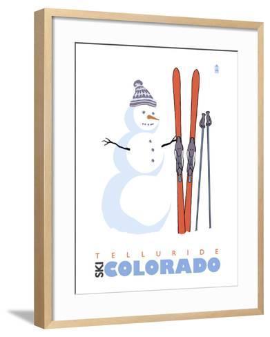 Telluride, Colorado, Snowman with Skis-Lantern Press-Framed Art Print