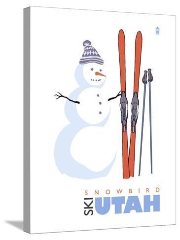 Snowbird, Utah, Snowman with Skis-Lantern Press-Stretched Canvas Print