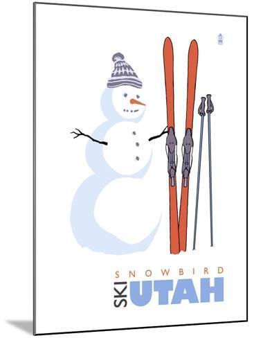 Snowbird, Utah, Snowman with Skis-Lantern Press-Mounted Art Print