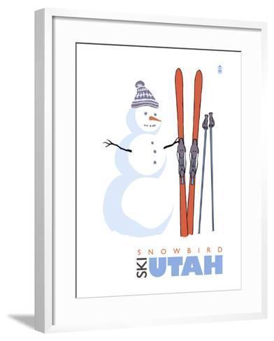 Snowbird, Utah, Snowman with Skis-Lantern Press-Framed Art Print