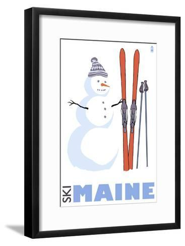 Maine, Snowman with Skis-Lantern Press-Framed Art Print