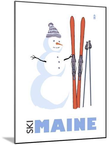 Maine, Snowman with Skis-Lantern Press-Mounted Art Print