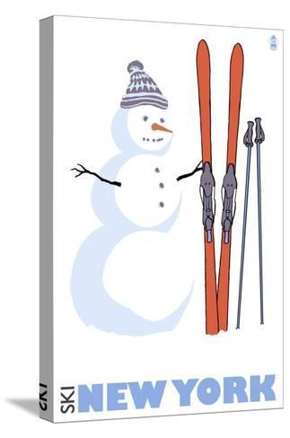 New York, Snowman with Skis-Lantern Press-Stretched Canvas Print