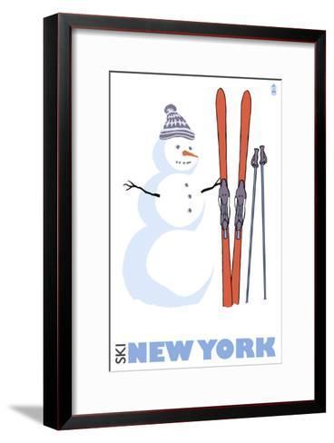 New York, Snowman with Skis-Lantern Press-Framed Art Print