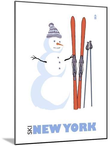 New York, Snowman with Skis-Lantern Press-Mounted Art Print