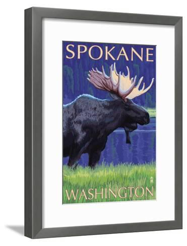 Spokane, Washington, Moose at Night-Lantern Press-Framed Art Print