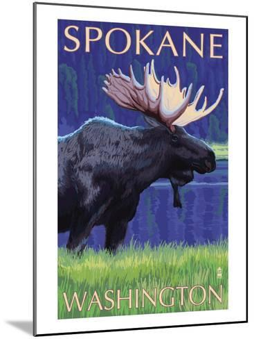 Spokane, Washington, Moose at Night-Lantern Press-Mounted Art Print
