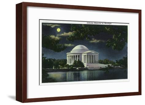 Washington DC, Exterior View of the Jefferson Memorial at Night-Lantern Press-Framed Art Print