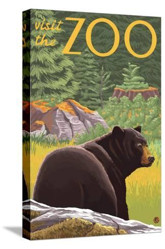 Visit the Zoo, Bear in the Forest-Lantern Press-Stretched Canvas Print