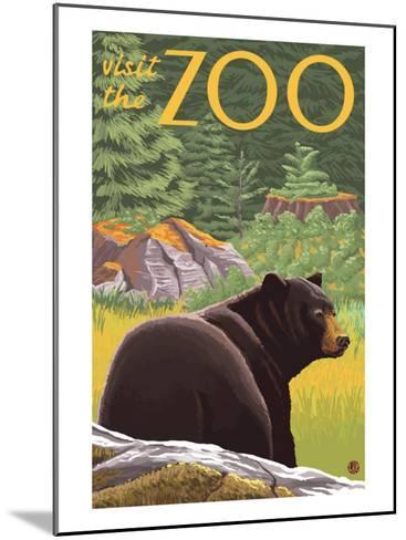 Visit the Zoo, Bear in the Forest-Lantern Press-Mounted Art Print