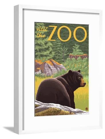 Visit the Zoo, Bear in the Forest-Lantern Press-Framed Art Print