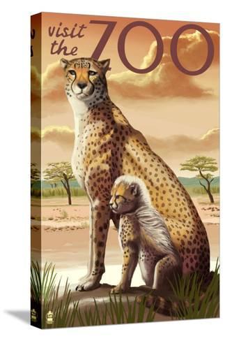 Visit the Zoo, Cheetah View-Lantern Press-Stretched Canvas Print