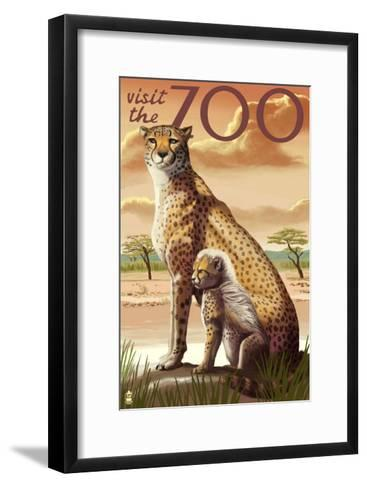 Visit the Zoo, Cheetah View-Lantern Press-Framed Art Print