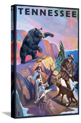 Tennessee, Bear Hunter with Dogs-Lantern Press-Stretched Canvas Print