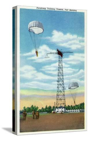 Fort Benning, Georgia, View of Paratroop Training Towers, Parachutes-Lantern Press-Stretched Canvas Print