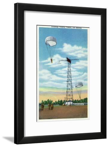 Fort Benning, Georgia, View of Paratroop Training Towers, Parachutes-Lantern Press-Framed Art Print