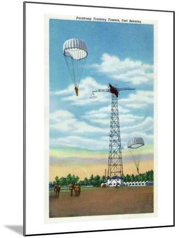 Fort Benning, Georgia, View of Paratroop Training Towers, Parachutes-Lantern Press-Mounted Art Print