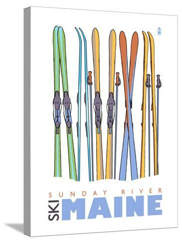 Sunday River, Maine, Skis in the Snow-Lantern Press-Stretched Canvas Print