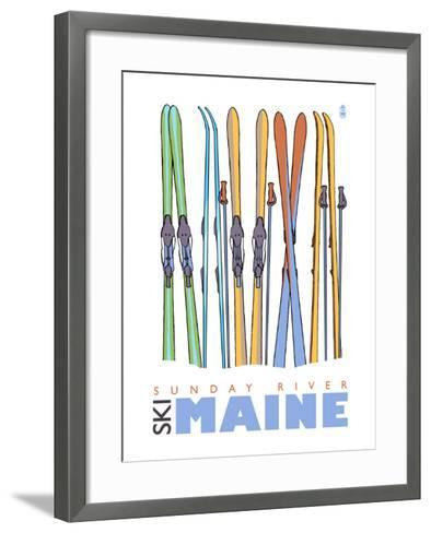 Sunday River, Maine, Skis in the Snow-Lantern Press-Framed Art Print