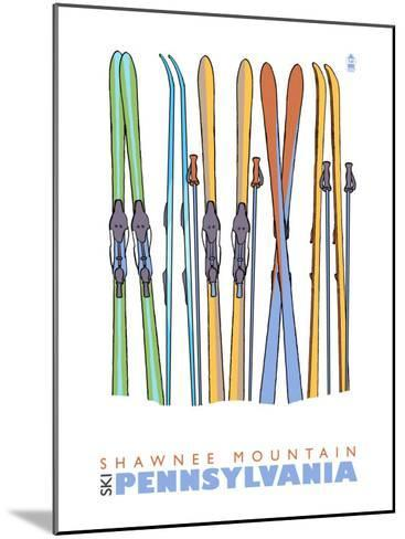 Shawnee Mountain, Pennsylvania, Skis in the Snow-Lantern Press-Mounted Art Print