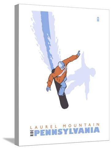 Laurel Mountain, Pennsylvania, Stylized Snowboarder-Lantern Press-Stretched Canvas Print