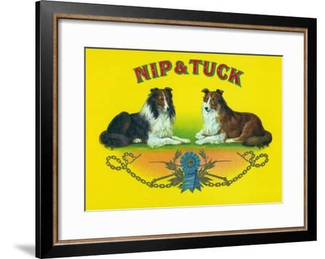 Nip and Tuck Brand Cigar Box Label, Rough Collies-Lantern Press-Framed Art Print