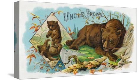 Uncle Brown Brand Cigar Box Label, Brown Bears-Lantern Press-Stretched Canvas Print