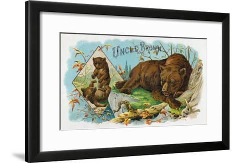 Uncle Brown Brand Cigar Box Label, Brown Bears-Lantern Press-Framed Art Print